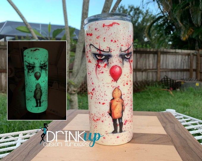 Featured listing image: Glow in the Dark Pennywise Custom Tumbler / IT Movie / Clown / Halloween Tumbler / You'll Float Too / Horror Tumbler / Blood Spatter