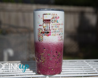 a4cedc4d027 Jeep Girl with a Mouth Custom Ombre' Glitter Tumbler // Jeep Life // Jeep  Driver // Jeep Wrangler // Wrangler Sahara // Living the Jeep Life