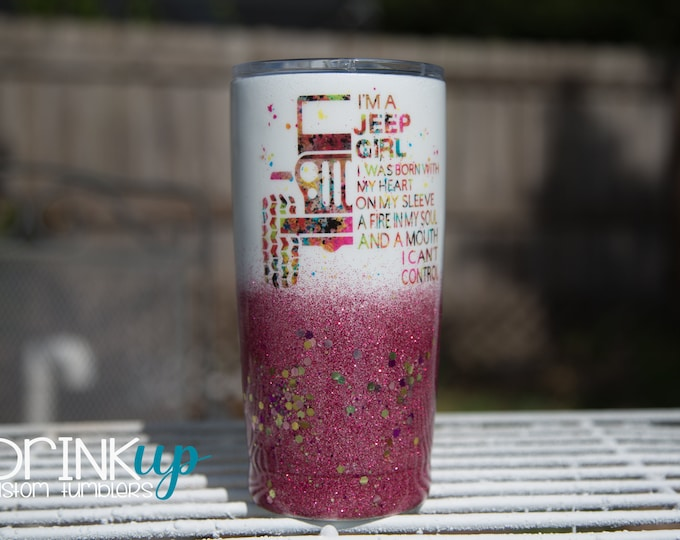 Featured listing image: Jeep Girl with a Mouth Custom Ombre' Glitter Tumbler // Jeep Life // Jeep Driver // Jeep Wrangler // Wrangler Sahara // Living the Jeep Life