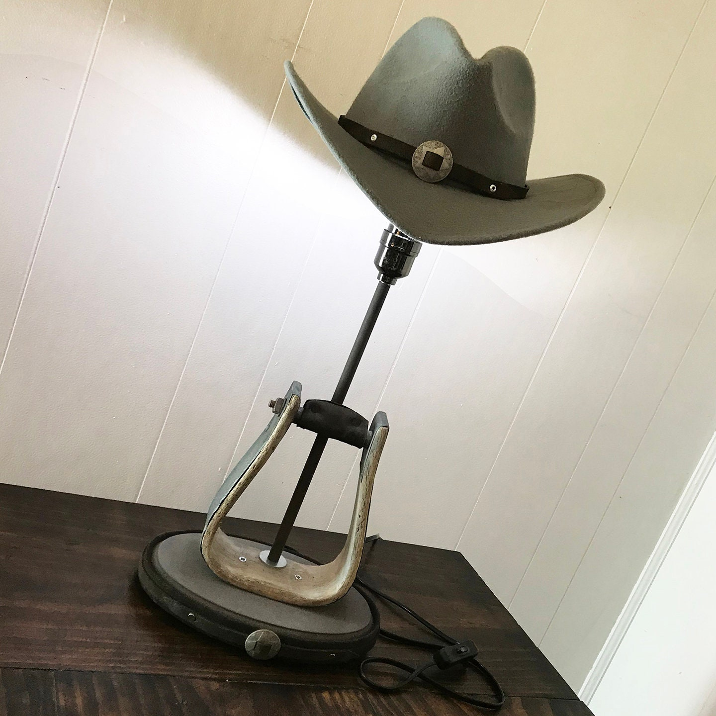 Western Stirrup Table Lamp with Genuine Cowboy Hat + Leather Trim