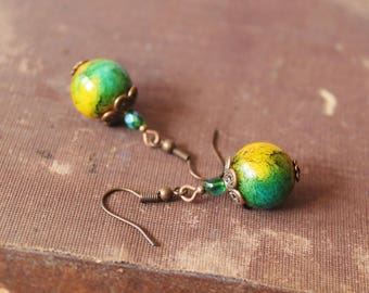 SALE 50% off Green Yellow Earrings Beaded Earrings Green Yellow Dangle Earrings Green Yellow Jewelry Gift for her