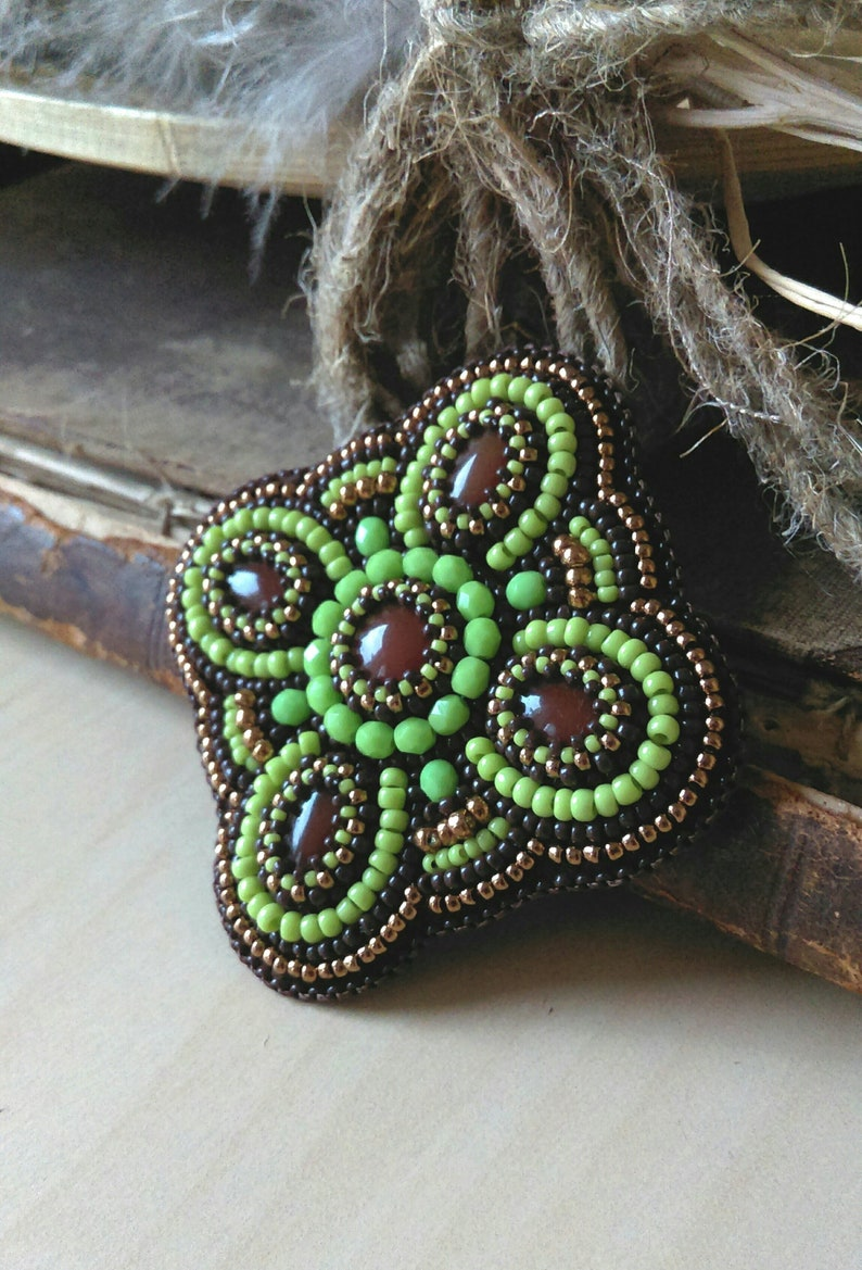 Beadwork Brooch Green Copper Brown Brooch Bead embroidered Brooch Agate Cabochon Brooch Bead embroidery jewelry Boho Ethnic Brooch