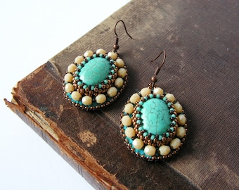 Bead embroidery Earrings Turquoise Beige Earrings Beadwork Earrings Turquoise Jewelry Turquoise Beige Copper Ethnic Tribal MADE TO ORDER