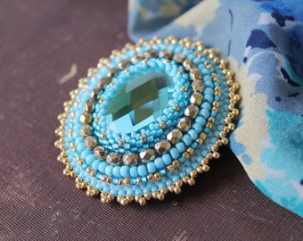 Blue Gold Brooch Embroidery Brooch Embroidered Brooch Beadwork Brooch Cabochon Brooch Glass beads Brooch Blue Gold Jewelry MADE TO ORDER