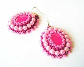 Pink Earrings Bead embroidery Earrings Beadwork Earrings Pink dangle Earrings Bead embroidery Jewelry Pink Jewelry MADE TO ORDER