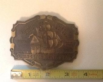 1970's belt buckle .Livingston Wells &Co. Gold Dealers