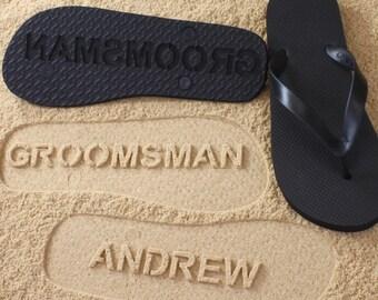Groomsmen Flip Flops Personalized Groom Best Man Groomsman Gift Wedding *check size chart, see 3rd product photo*