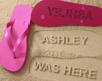 be645b03cd5c Personalized Flip Flops sand imprint  Click or Scroll through pics for size  chart