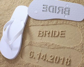 089854564d57b3 Custom Beach Wedding Flip Flops - Personalized Wedding Shoes for Bride    Groom or Honeymoon  Click or Scroll through pics for size chart