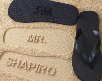 44d01592d Groom Flip Flops Personalized Groomsmen Best Man Wedding  Click or Scroll  through pics for size chart