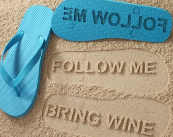 9f8e97985 Follow Me BRING WINE Flip Flops - Personalized Custom Sandals  Click or  Scroll through pics for size chart