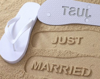 24461e94f491f Just Married Flip Flops - Custom Sand Imprint Sandals for Beach Weddings