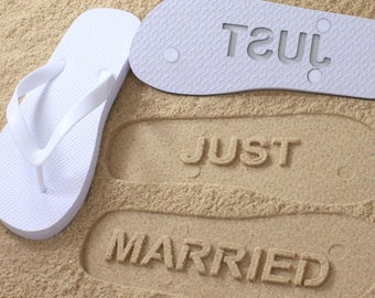 eabdf986732f Just Married Flip Flops Wedding Bridal  Click or Scroll through pics for  size chart