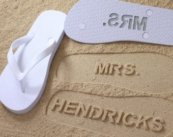 77ad3d21c562 Custom Bride Flip Flops - Personalized Name Sandals for Wedding   Bridal  Party  Click or Scroll through pics for size chart