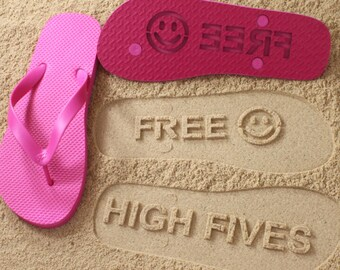 Custom Sand Imprint Flip Flops fun funny awesome sandals *check size chart, see 3rd product photo*