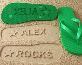 Custom Name Flip Flops - Personalized Sand Imprint Sandals *check size chart, see 3rd product photo*