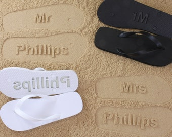 933a032aa449 MR and MRS Bridal Flip Flops - Personalized Sand Imprint Flip Flops  (listing is for ONE pair)  Click or Scroll through pics for size chart