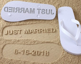 e146071ec Custom Bridal Flip Flops Wedding Date  Click or Scroll through pics for size  chart