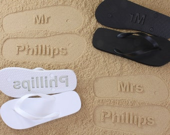 27668c85f His and Her Flip Flops Personalized Bridal Wedding  Click or Scroll through  pics for size chart