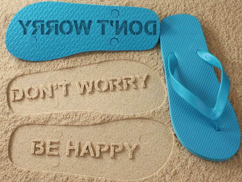 30c57eb66692d4 Don t Worry Be Happy Flip Flops Click or Scroll through