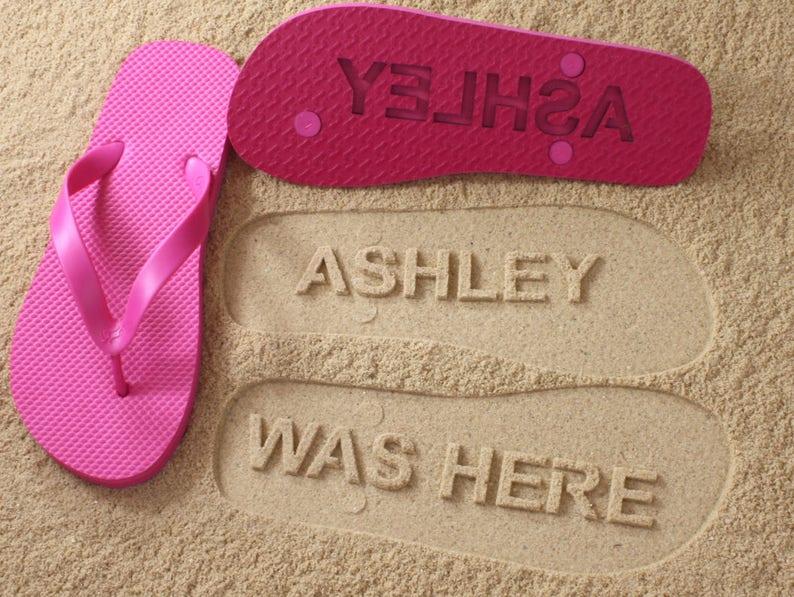 e3f9ebccf3ba4b Personalized Flip Flops sand imprint Click or Scroll through