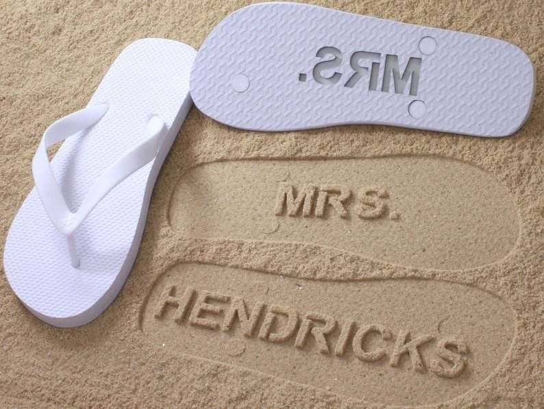 3d88e36bb53cc Custom Bride Flip Flops Personalized Wedding Bridal Name