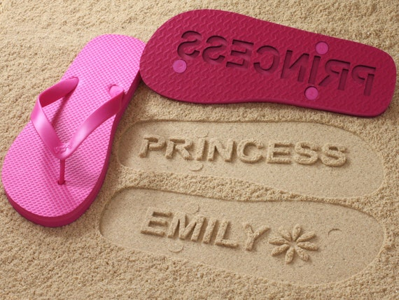20ebe065a1a119 Custom Name Flip Flops Personalize Sand Imprint Sandals