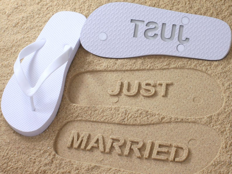 5ee0cb333 Just Married Flip Flops Custom Sand Imprint Sandals for