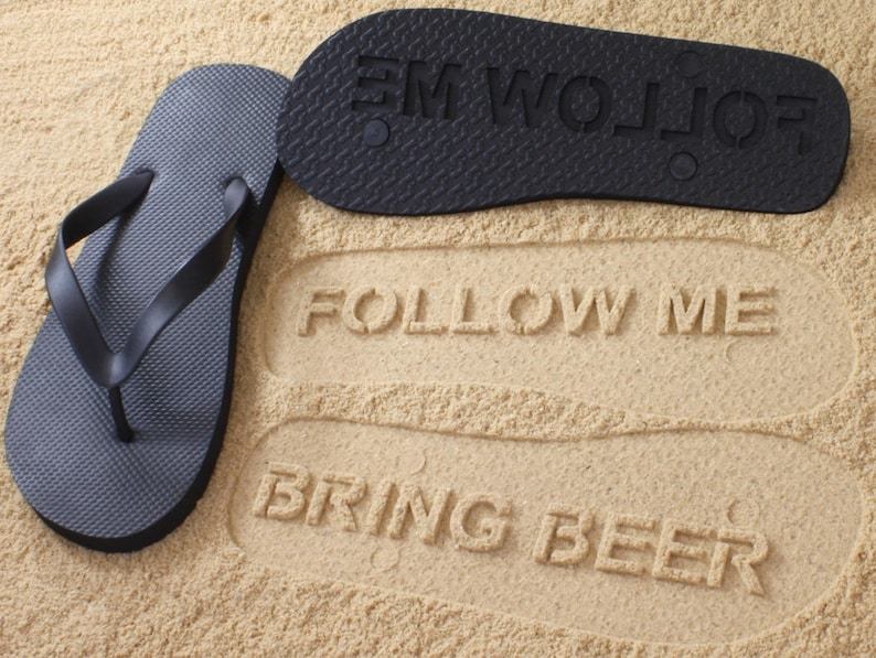 a7e0b3b0a2eef Custom Follow Me BRING BEER Flip Flops Personalized Booze