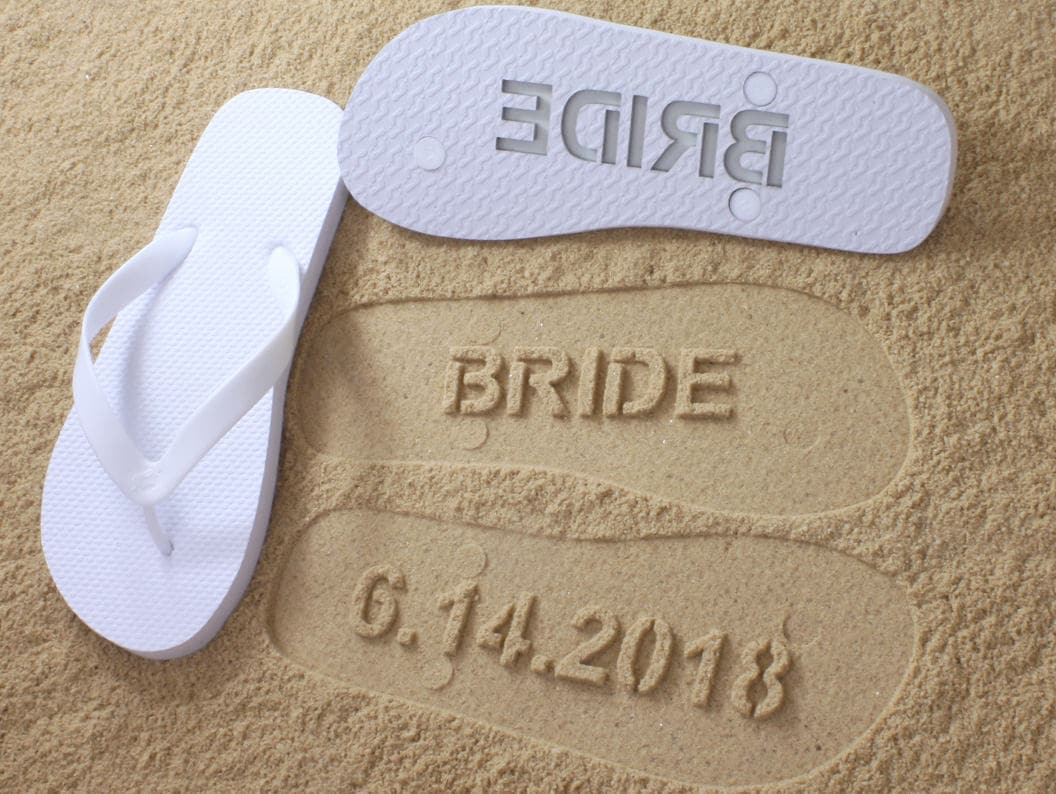 b417c6e0a440 Custom Beach Wedding Flip Flops Personalized Wedding Shoes