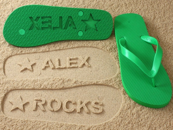 f92ff458c830d5 Custom Name Flip Flops Personalized Sand Imprint Sandals