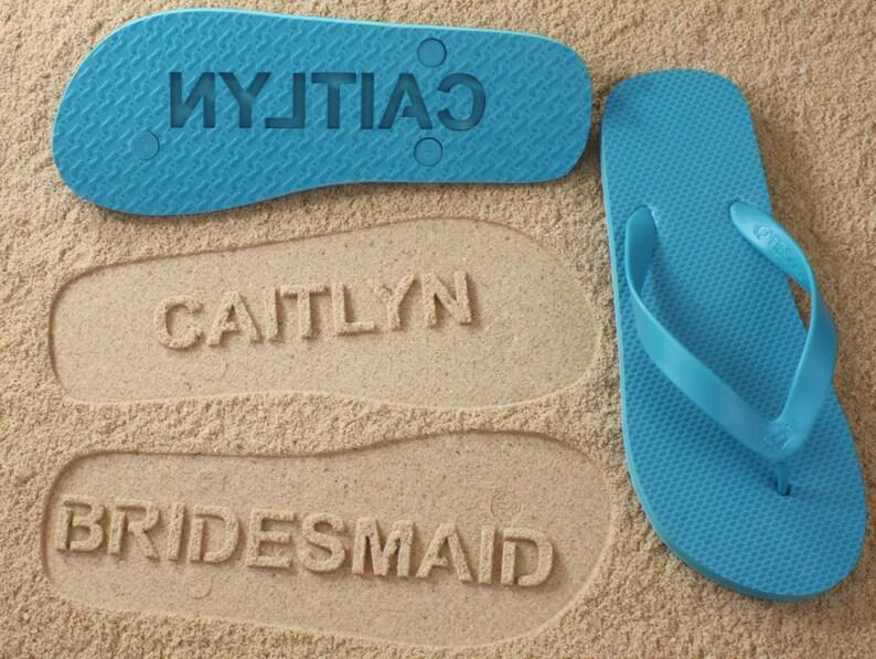 06e09f033fb Bridesmaid Flip Flops Sand Imprint Shoes for Maid of Honor