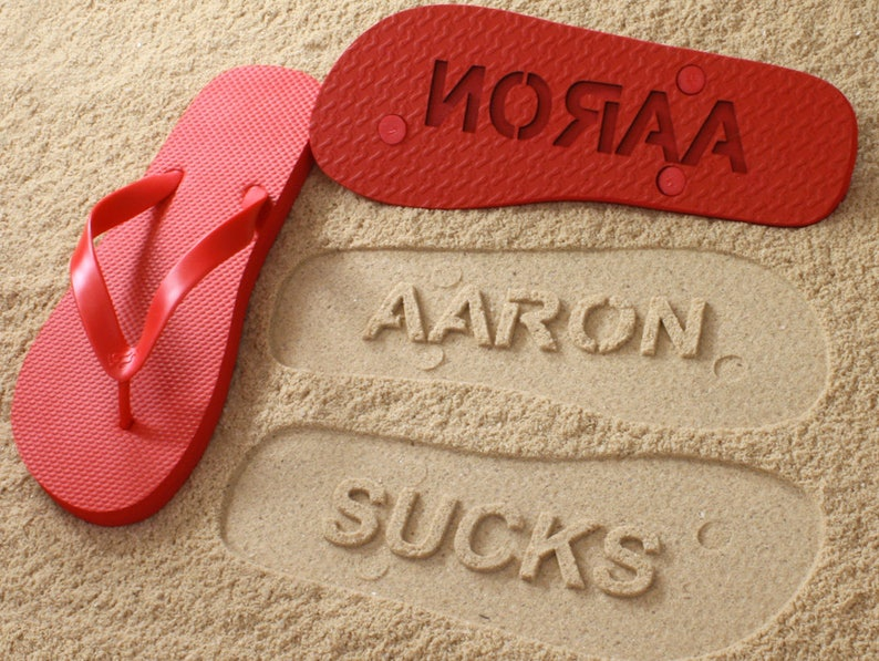 b6b00309e8a7d Fun Personalized Sand Imprint Sandals check size chart see