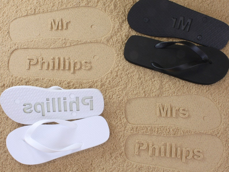 ba494ec5c71c MR and MRS Bridal Flip Flops Personalized Sand Imprint Flip