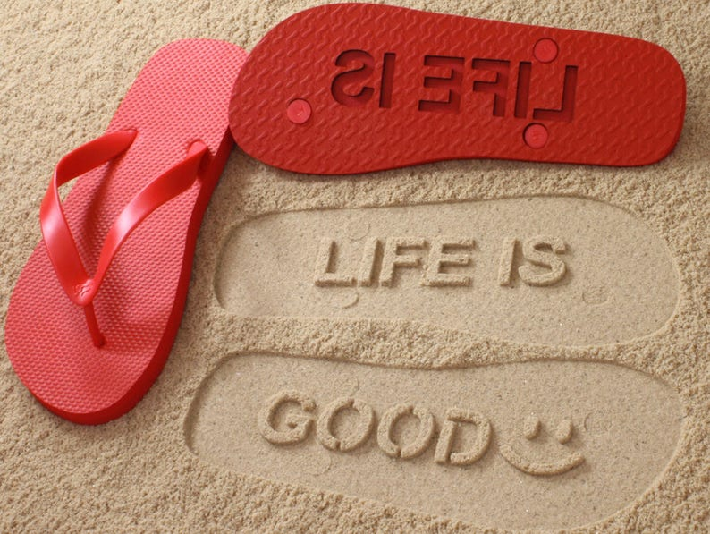 f350d869dee4 Inspirational Quote Sand Imprint Flip Flops Click or Scroll