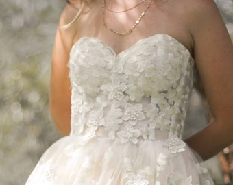 Bohemian Wedding Dress, Flower wedding dress