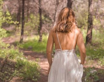 Bohemian Wedding Dress Lace, Open Back Boho Wedding Dress