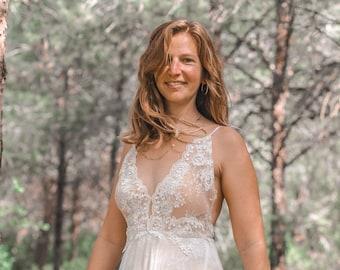 Bohemian Wedding Dress, A-line Wedding Dress