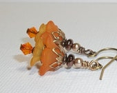 Orange Lucite Flower Earrings. Vintage Inspired Lucite Earrings with Swarovski Pearls and Crystals. Girly Earrings. Fun. Flirty. Sunny.