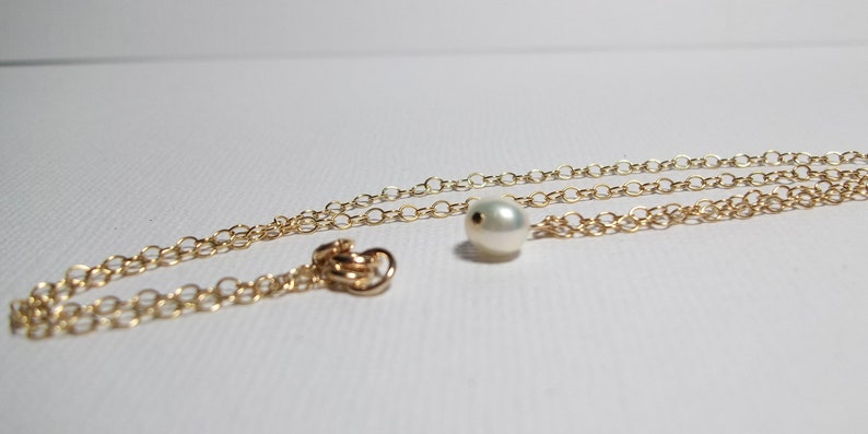 Prom Teen Petite 14K Gold Filled Chain Necklace Simple Necklace. Freshwater Pearl Necklace Feminine White Pearl Necklace