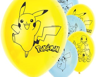 4e0e7b35878dcd Pokémon Yellow Blue 4 Sided Pikachu Assorted Latex Balloons 11