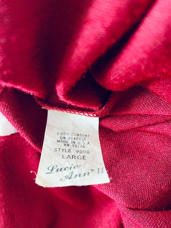 Vintage Lucie Ann Red Velvet Robe Large - image 6