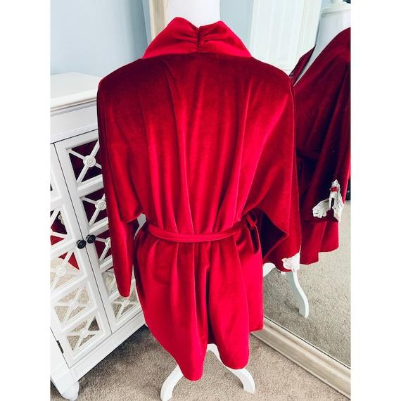 Vintage Lucie Ann Red Velvet Robe Large - image 3