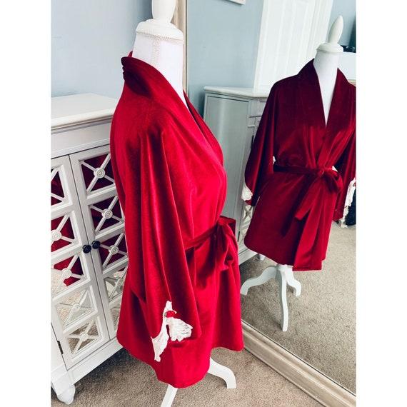 Vintage Lucie Ann Red Velvet Robe Large - image 2