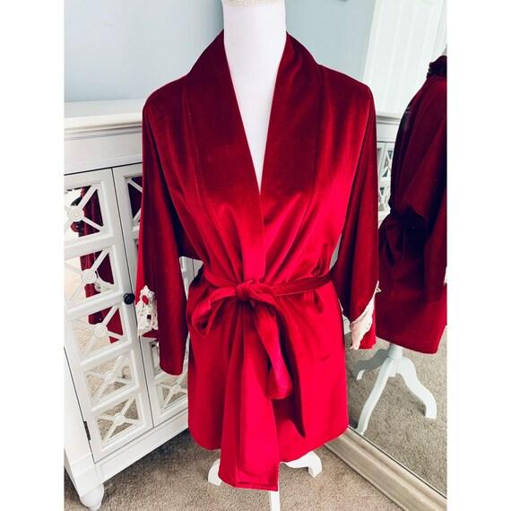 Vintage Lucie Ann Red Velvet Robe Large - image 1