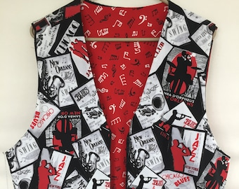 b28434b90a03d Jazz and Blues Theme Men s Women s Musical Vest choice of Red Music Symbols  or White Sheet Music Reverse