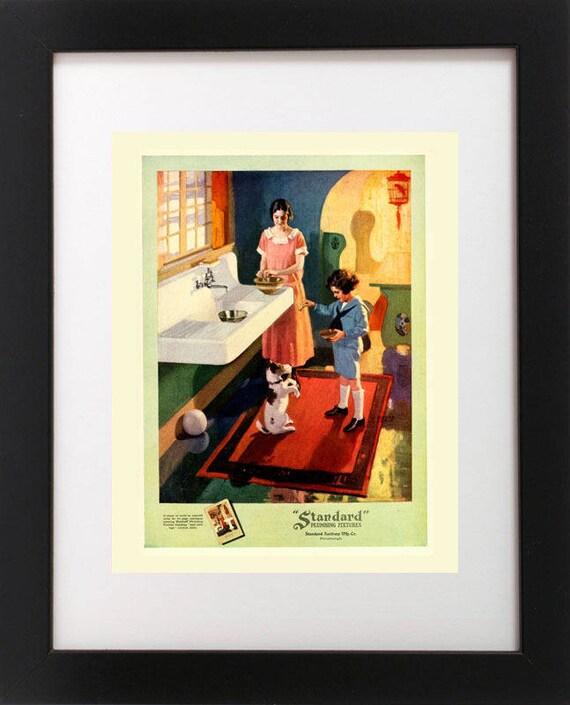 VTG 1920/'s Art Deco FLAPPER GIRL Fashion Dog FOX TERRIER Hat Dress Art RP PRINT