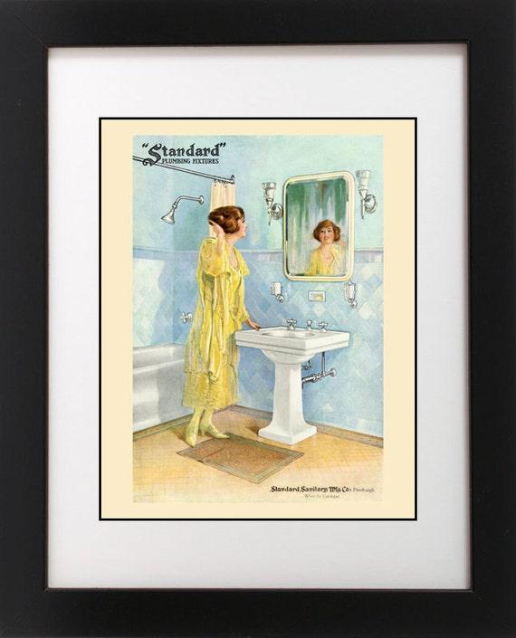 VTG 1920/'s Green Peacock Robe BATH Redhead Hair Flapper Girl Bathroom Art Print