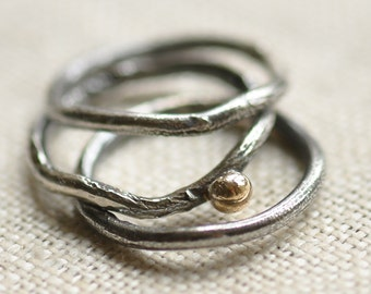 Sterling silver reticulated ring set, hand forged, unique, oxidized