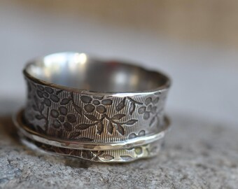 Sterling silver blossom spinner ring, hand forged, ready to ship, size 8